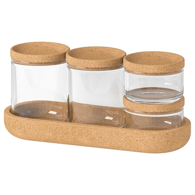 SAXBORGA Pots + couvercle et support, 5 pcs, verre liège