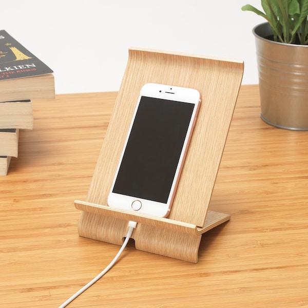SIGFINN Support pour téléphone portable, plaqué chêne blanchi