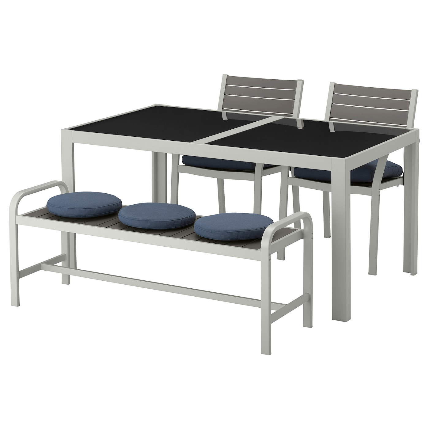 sj lland table 2 chaises banc ext verre fr s n duvholmen bleu 156 x 90 cm ikea. Black Bedroom Furniture Sets. Home Design Ideas