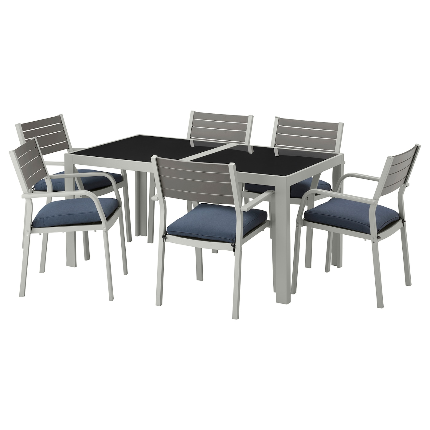 Sj lland table 6 chaises accoud ext rieur verre fr s n for Table en verre 6 chaises
