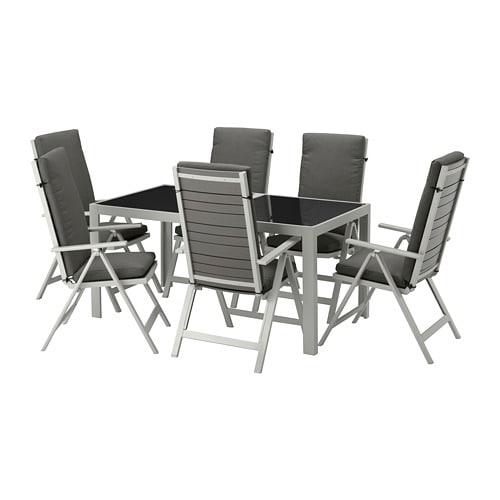 SJÄLLAND Table+6 chaises doss régl, ext Verre/frösön/duvholmen gris ...