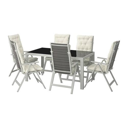 SJÄLLAND Table+6 chaises doss régl, ext Verre/kuddarna beige 156 x ...