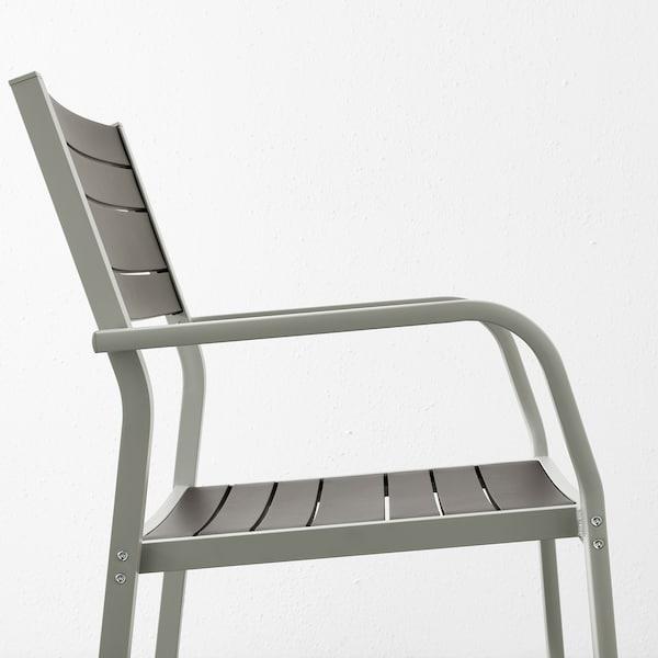 SJÄLLAND Table + 2 chaises accoudoir, ext, gris foncé/Kuddarna beige, 71x71x73 cm