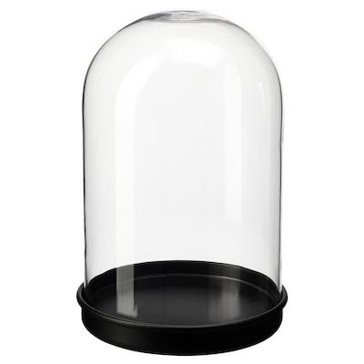 SKÖNJA Cloche en verre avec socle, verre transparent/noir, 21 cm