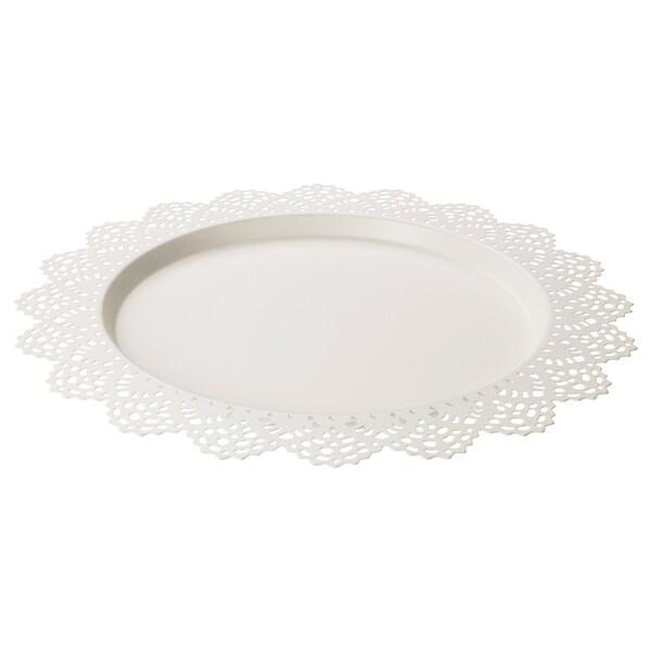 SKURAR Plat pour bougie, blanc, 37 cm