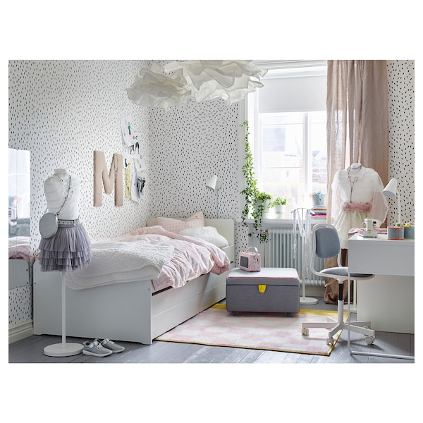 SLÄKT Lit tiroir rangement, blanc, 90x200 cm