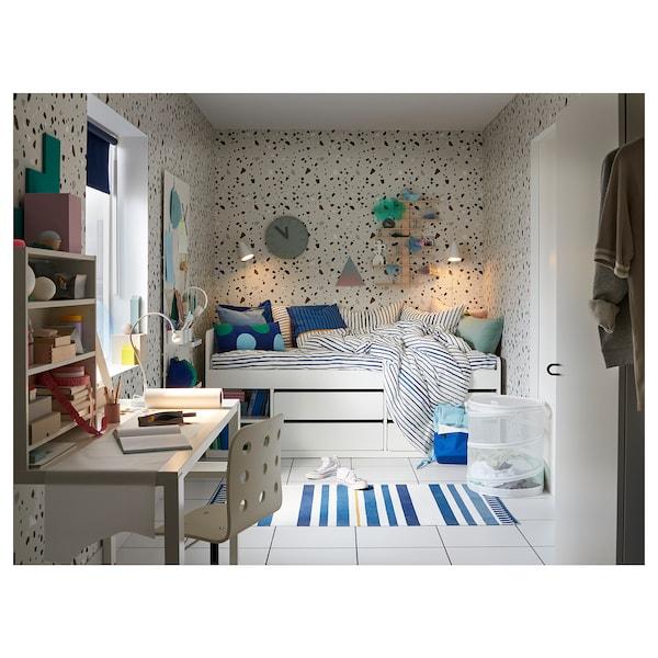 SLÄKT Structure lit+rangem+sommier lattes, blanc, 90x200 cm