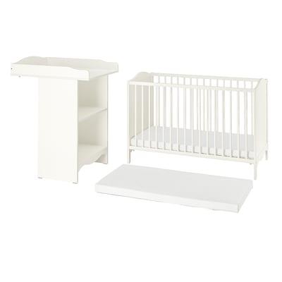 SMÅGÖRA Lot de 3 meubles chambre bébé, blanc