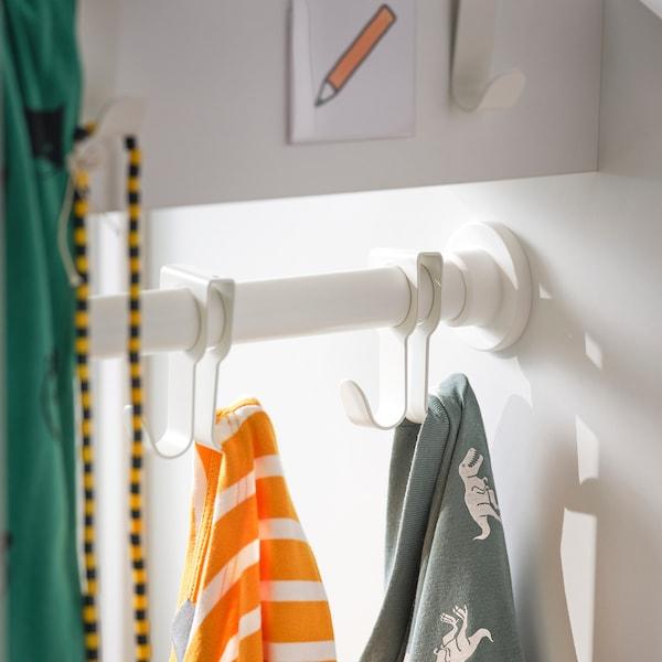 SMÅSTAD Armoire avec élément coulissant, blanc blanc/avec tringle à vêtements, 60x57x196 cm