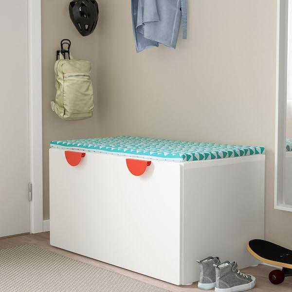 SMÅSTAD Banc avec rangement jouets, blanc/blanc, 90x52x48 cm