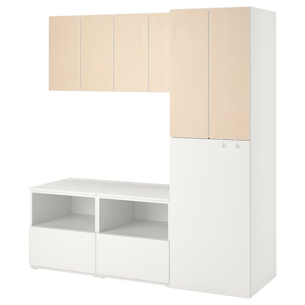 SMÅSTAD Combinaison de rangement, blanc bouleau/coulissant, 180x57x196 cm