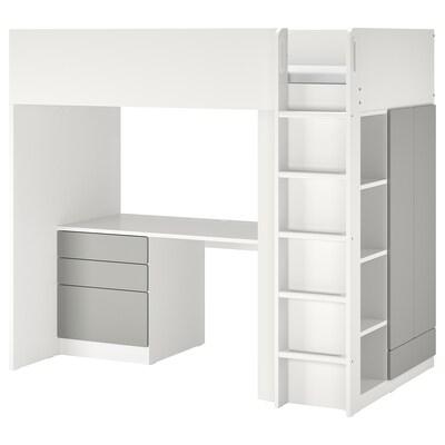 SMÅSTAD Lit mezzanine, blanc gris/avec bureau avec 4 tiroirs, 90x200 cm