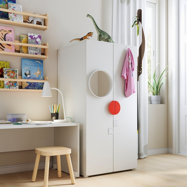 SMÅSTAD / PLATSA Armoire-penderie, blanc/blanc, 60x57x123 cm