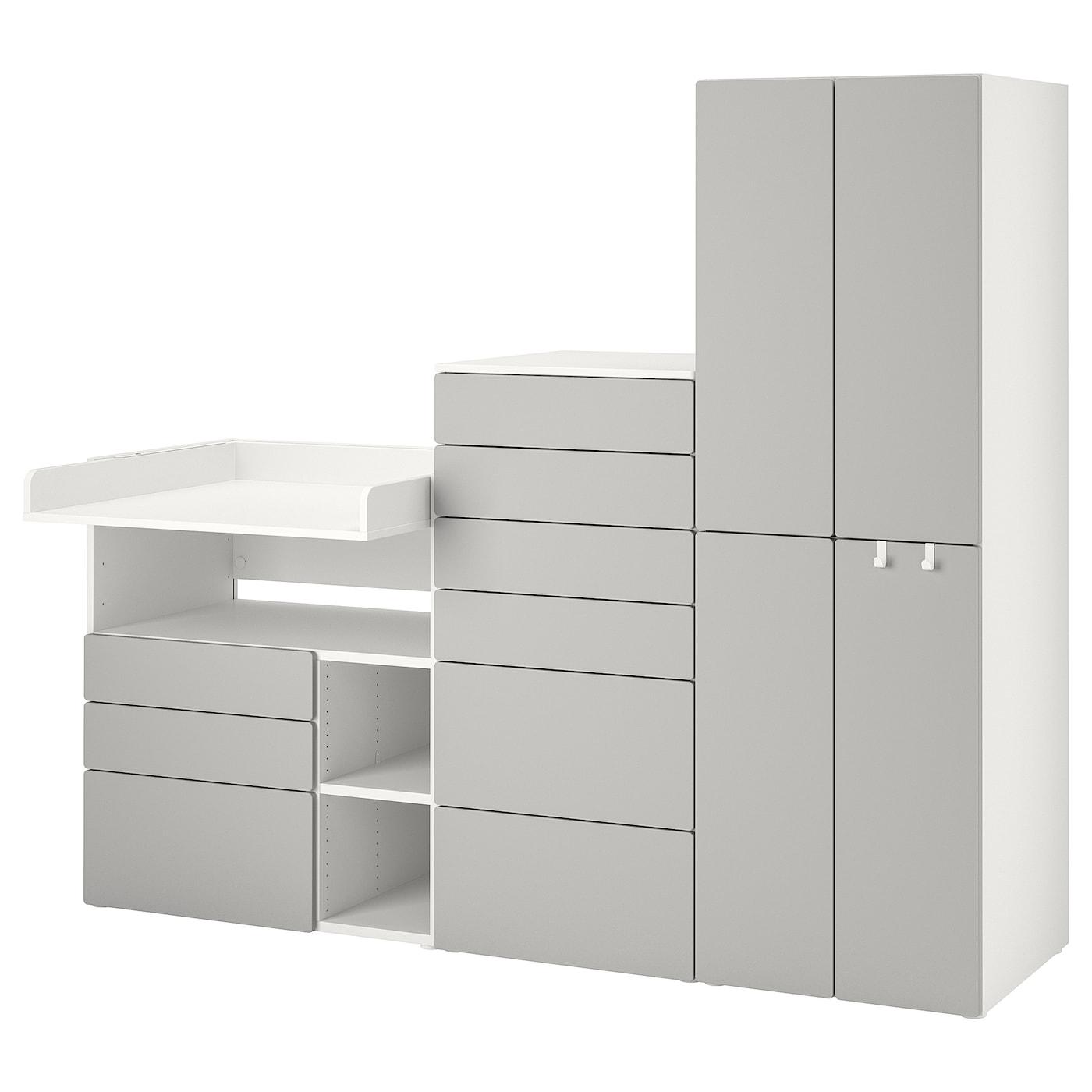 SMÅSTAD / PLATSA Combinaison de rangement - blanc gris/avec table à langer - IKEA