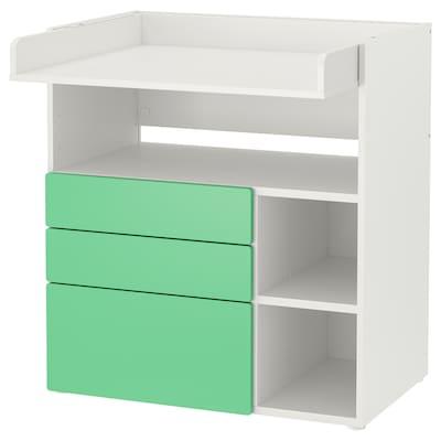 SMÅSTAD Table à langer, blanc vert/avec 3 tiroirs, 90x79x100 cm