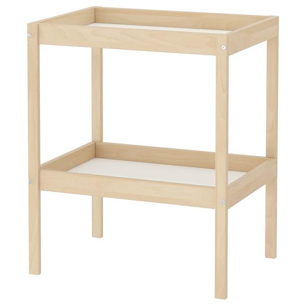 SNIGLAR Table à langer, hêtre/blanc, 72x53 cm