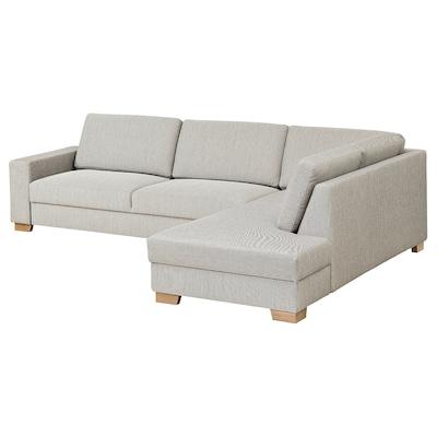 SÖRVALLEN Canapé d'angle, 4 places, sans accoudoir à droite/Viarp beige/brun