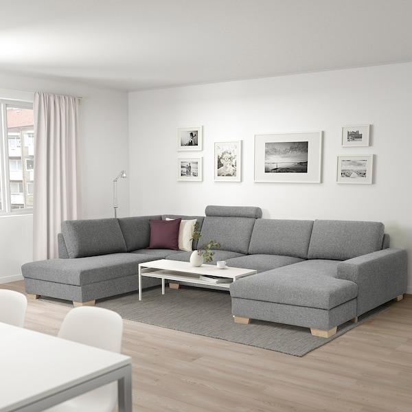 SÖRVALLEN Canapé d'angle, 5 places, avec méridienne, gauche/Lejde gris/noir