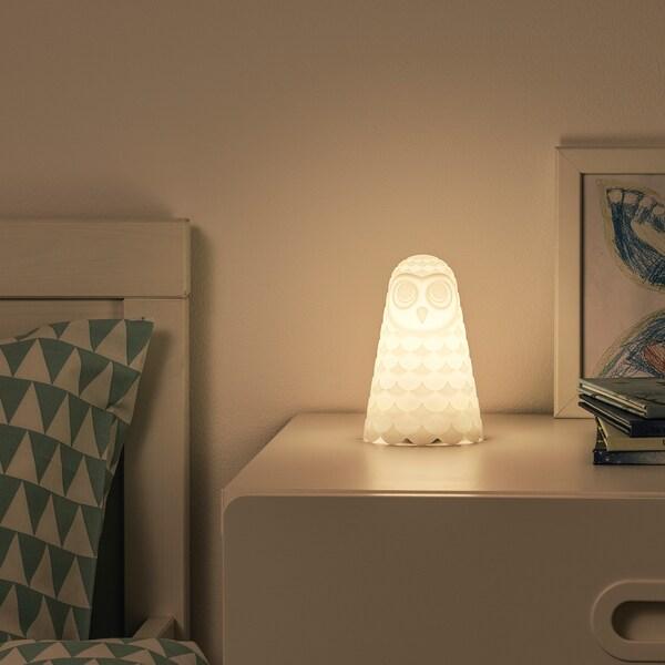 SOLBO lampe de table à LED blanc hibou/à pile 14.0 cm 9 cm 0.06 W