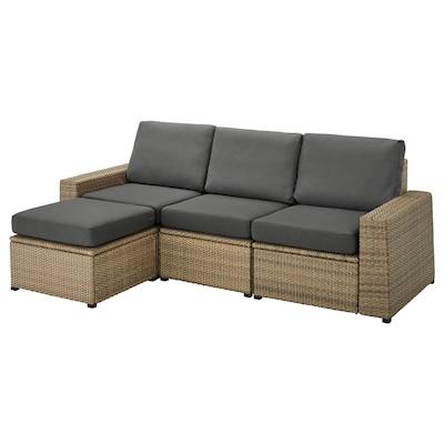 SOLLERÖN Canapé 3 places modulable extérieur, avec repose-pied brun/Frösön/Duvholmen gris foncé, 223x144x88 cm