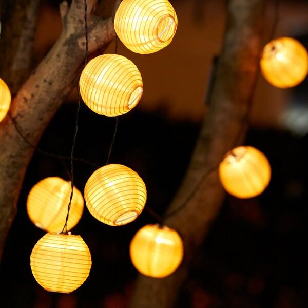SOLVINDEN guirlande lumineuse à LED 12 amp à pile/extérieur jaune 1.5 m 19 cm 2.1 m 0.1 W 3.6 m