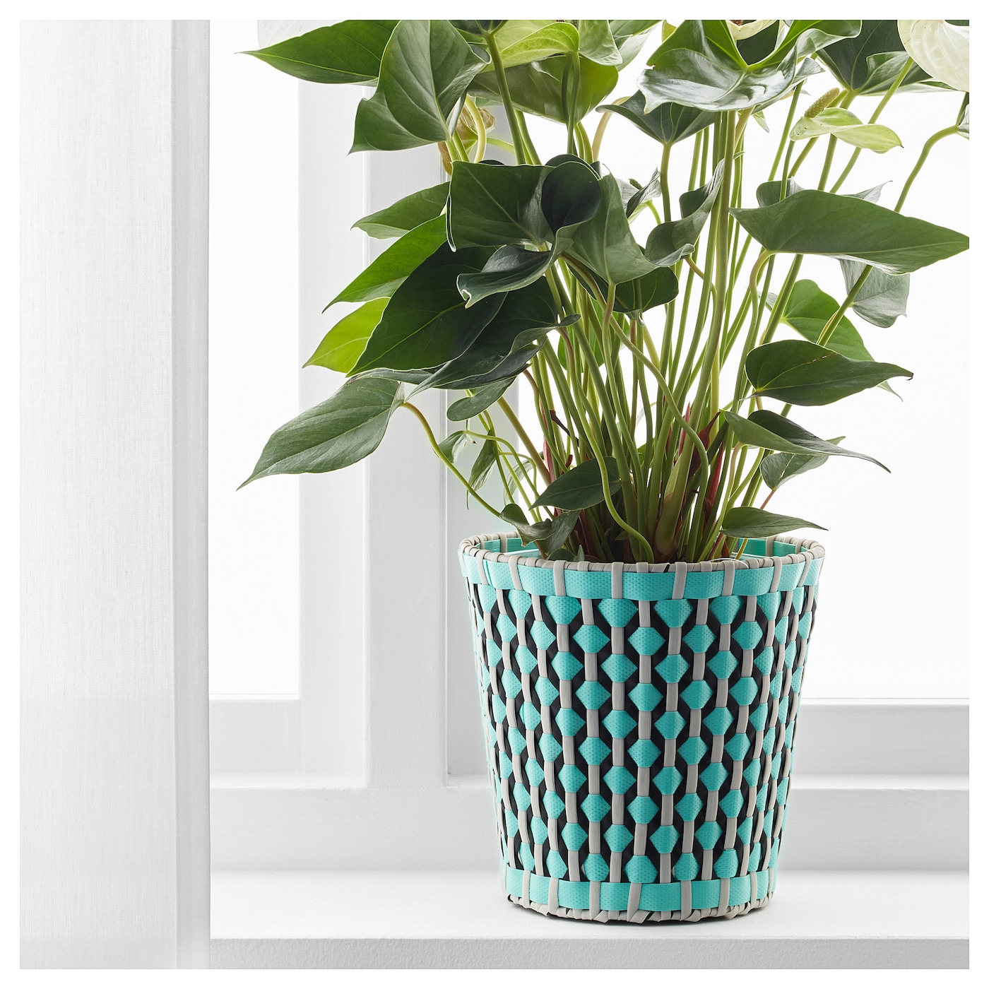 Sommar 2018 cache pot int rieur ext rieur turquoise 15 cm for Cache pot interieur