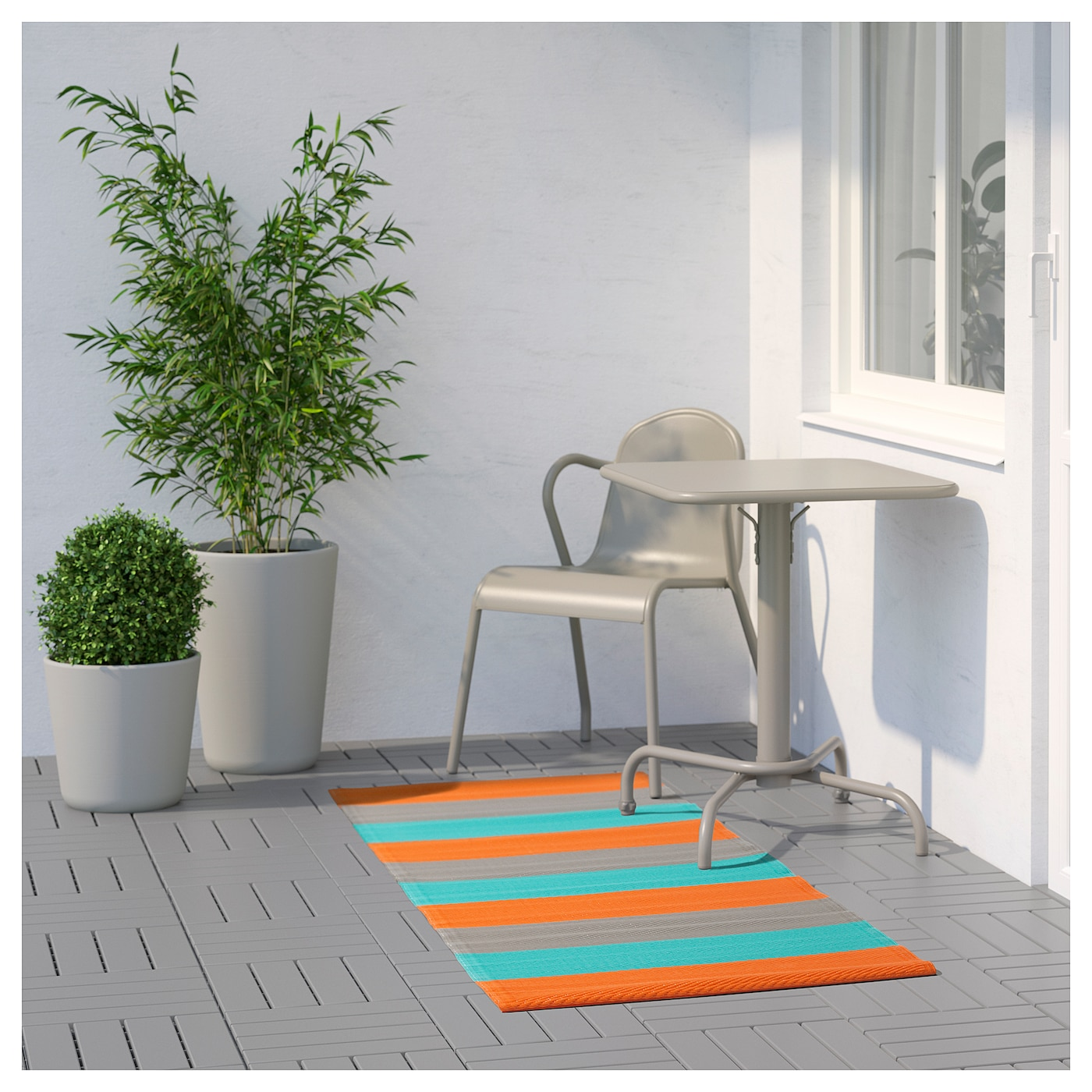 Sommar 2018 tapis tiss plat int ext rieur ray orange for Ikea tapis exterieur