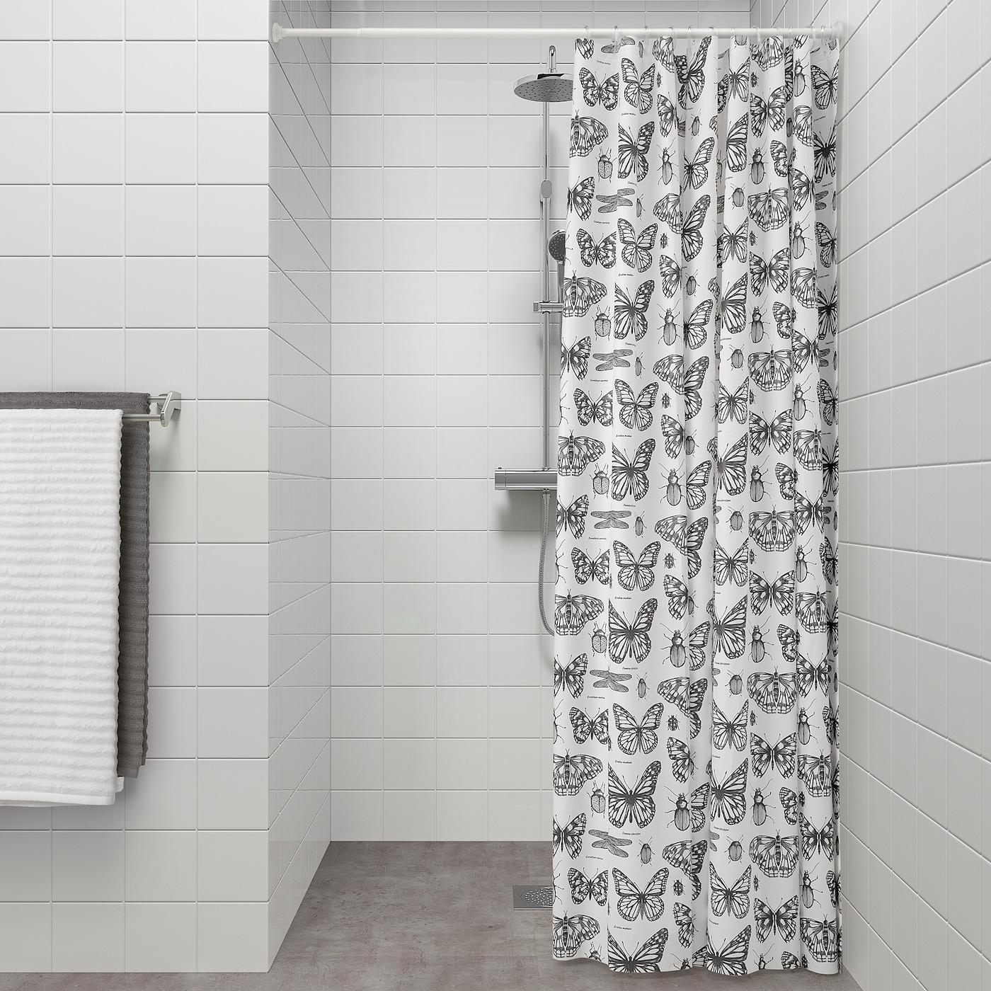 SOMMARMALVA Rideau de douche - blanc, gris foncé 18x18 cm