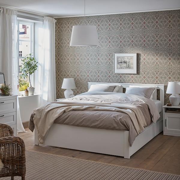 SONGESAND Cadre de lit+4boîtes de rangement, blanc/Leirsund, 140x200 cm