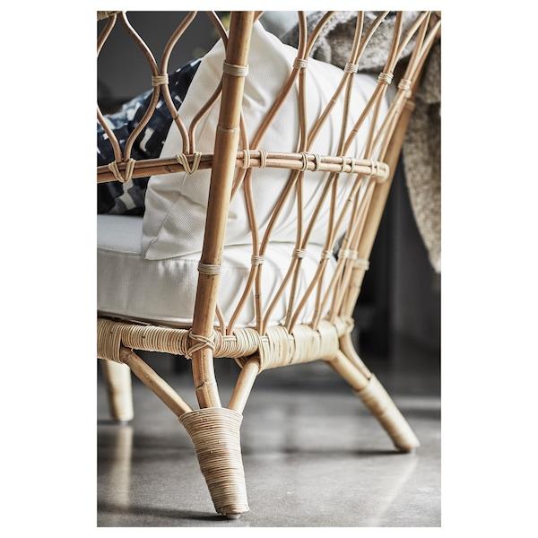 STOCKHOLM 2017 fauteuil avec coussin rotin/Röstånga blanc 87 cm 81 cm 79 cm 60 cm 54 cm 30 cm