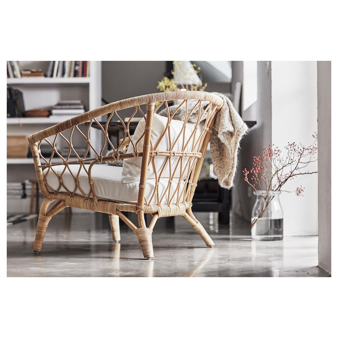 stockholm 2017 fauteuil avec coussin rotin r st nga blanc ikea. Black Bedroom Furniture Sets. Home Design Ideas