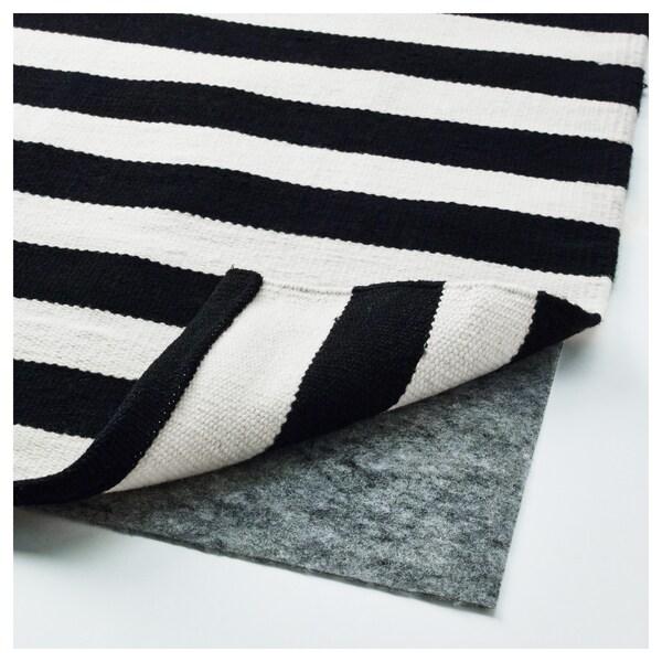 Tapis tissé à plat STOCKHOLM rayure fait main noir, blanc cassé rayé  noir/blanc cassé