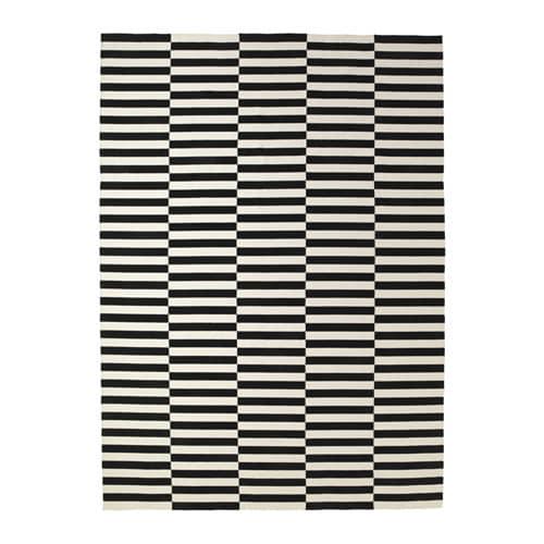 stockholm tapis tiss plat fait main ray noir blanc cass 250 x 350 cm ikea. Black Bedroom Furniture Sets. Home Design Ideas