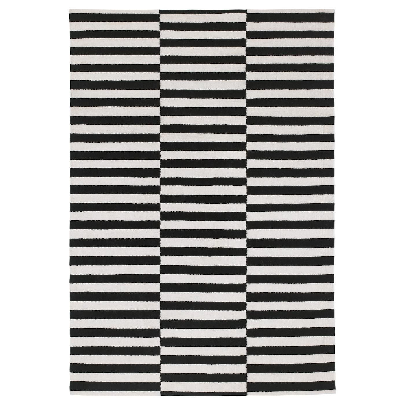 Stockholm Tapis Tissé à Plat Fait Main Rayé Noir Blanc Cassé 170 X
