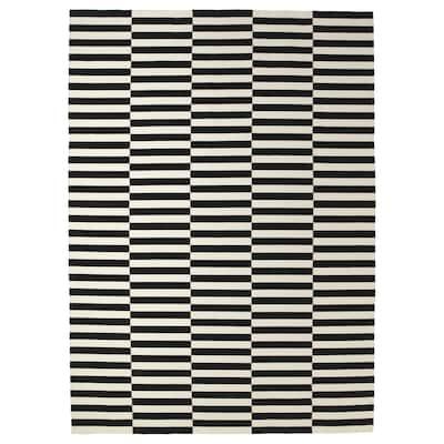 STOCKHOLM Tapis tissé à plat, fait main/rayé noir/blanc cassé, 250x350 cm