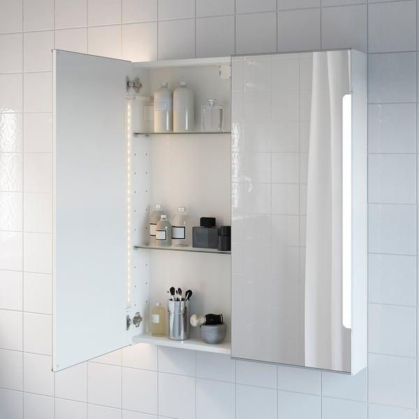 STORJORM Élément miroir 2ptes+éclairage int, blanc, 80x14x96 cm