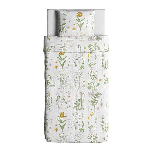 Strandkrypa housse de couette et taie motif floral blanc - Housse de couette bebe ikea ...