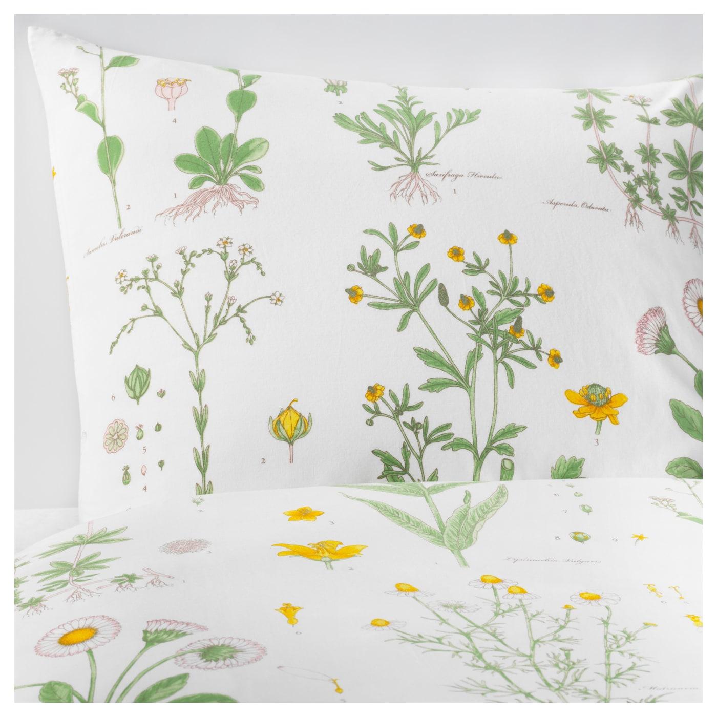 strandkrypa housse de couette et taie motif floral blanc 150x200 50x60 cm ikea. Black Bedroom Furniture Sets. Home Design Ideas