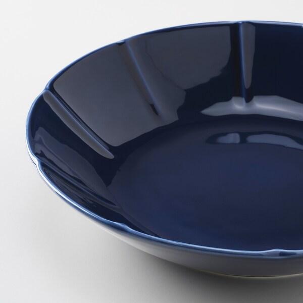 STRIMMIG Assiette creuse, faïence bleu, 23 cm