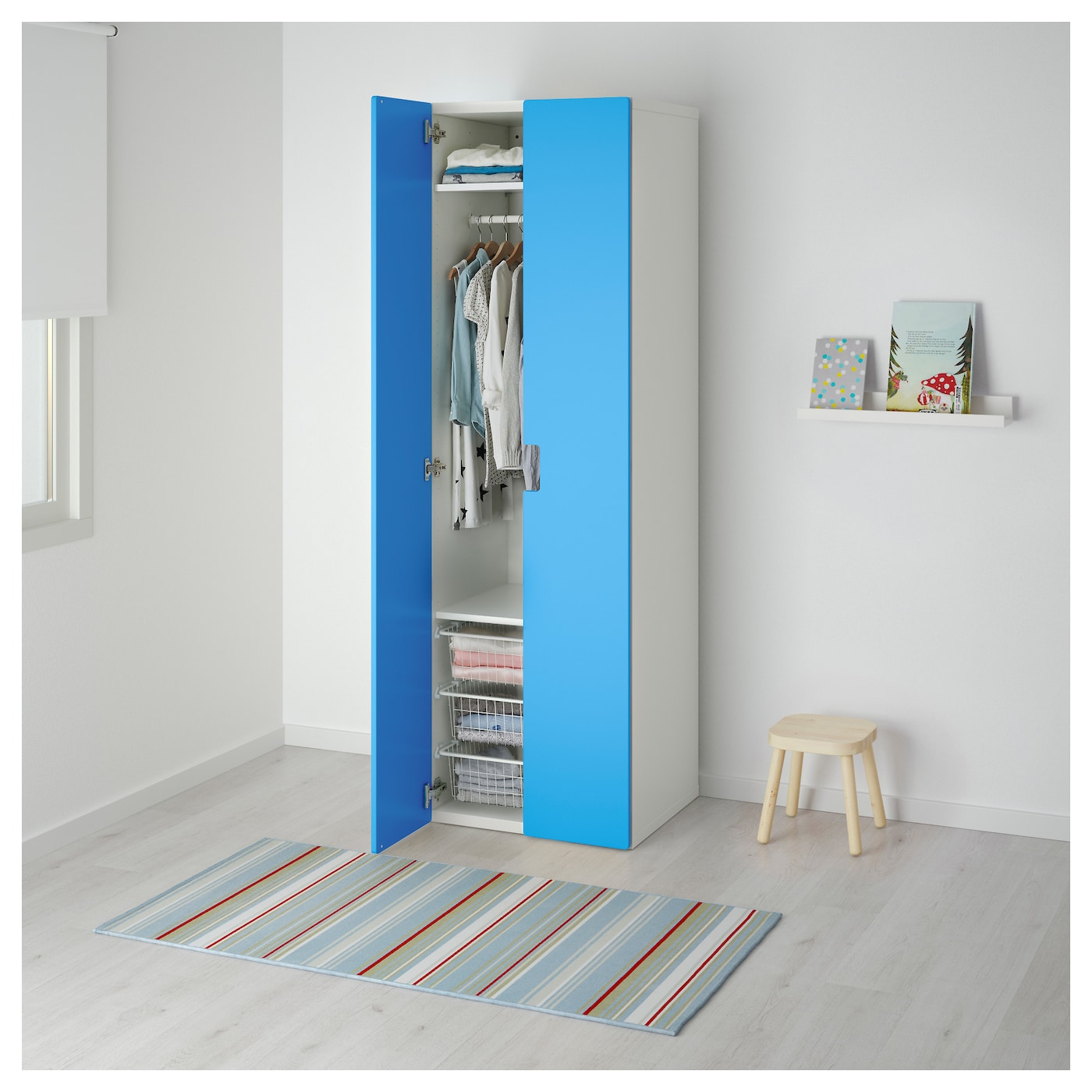 stuva armoire penderie blanc bleu 60x50x192 cm ikea. Black Bedroom Furniture Sets. Home Design Ideas