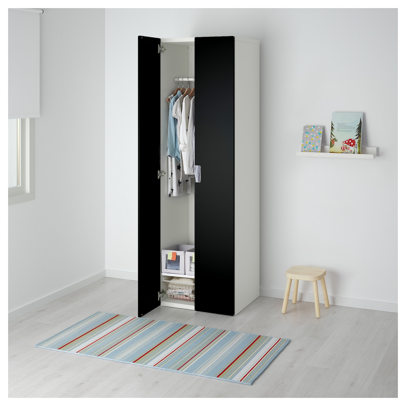 stuva armoire penderie blanc noir 60x50x192 cm ikea. Black Bedroom Furniture Sets. Home Design Ideas