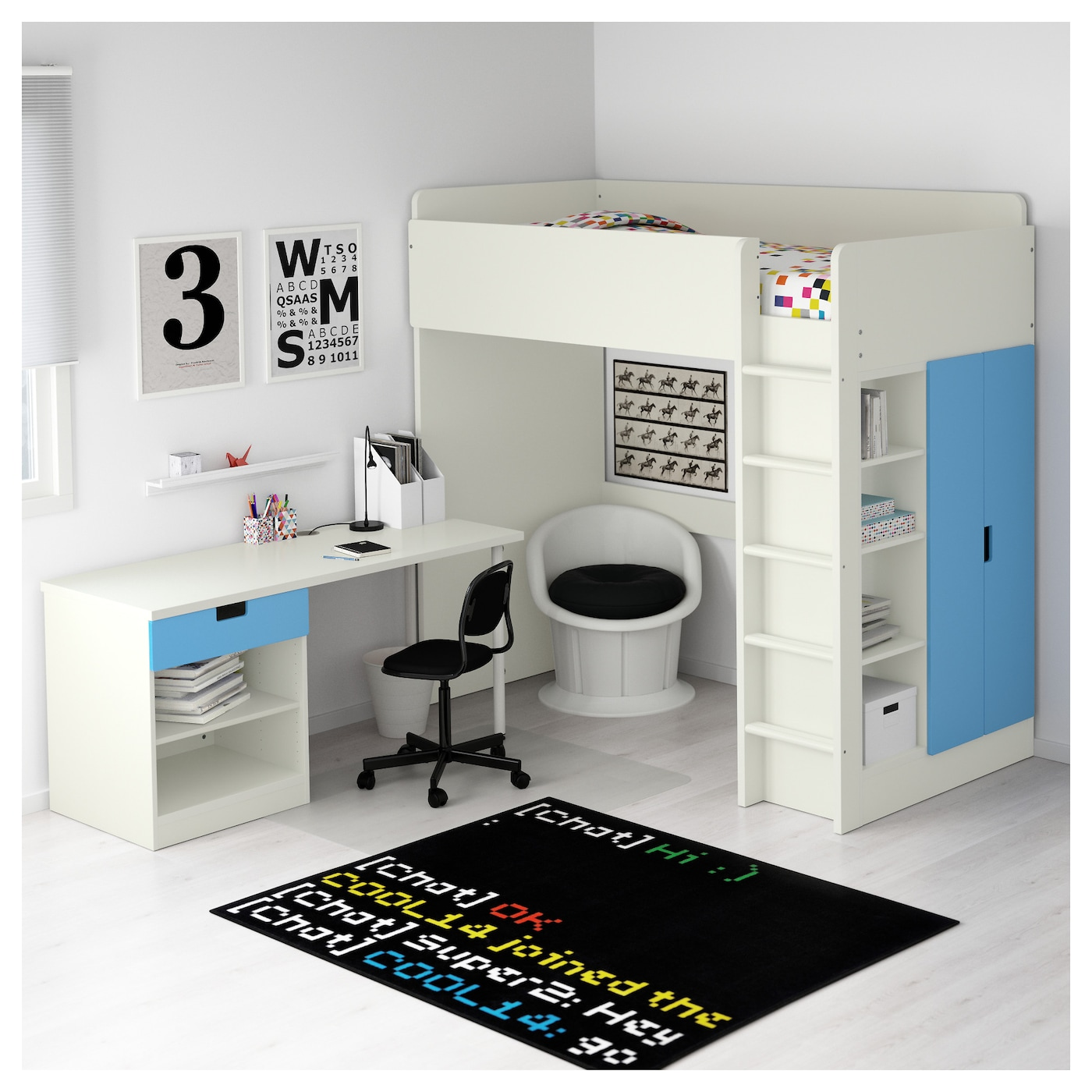 stuva combi lit mezz 1 tir 2 ptes blanc bleu 207x99x193 cm ikea. Black Bedroom Furniture Sets. Home Design Ideas