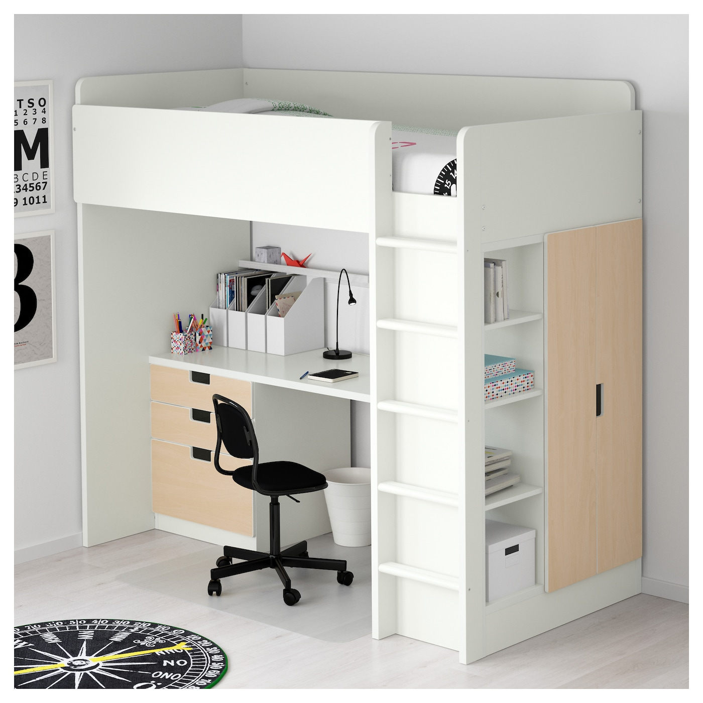stuva combi lit mezz 3 tir 2 ptes blanc bouleau 207x99x193 cm ikea. Black Bedroom Furniture Sets. Home Design Ideas