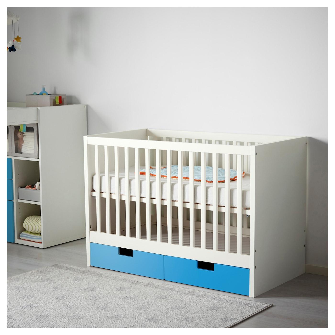 stuva lit enfant tiroirs bleu 60x120 cm ikea. Black Bedroom Furniture Sets. Home Design Ideas