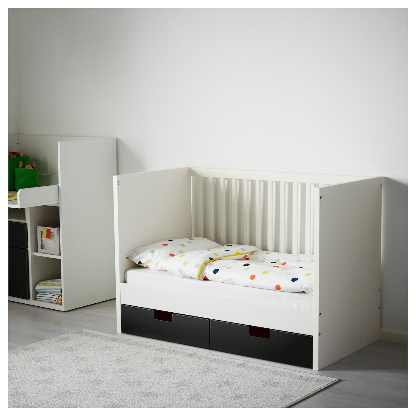 stuva lit enfant tiroirs noir 60x120 cm ikea. Black Bedroom Furniture Sets. Home Design Ideas