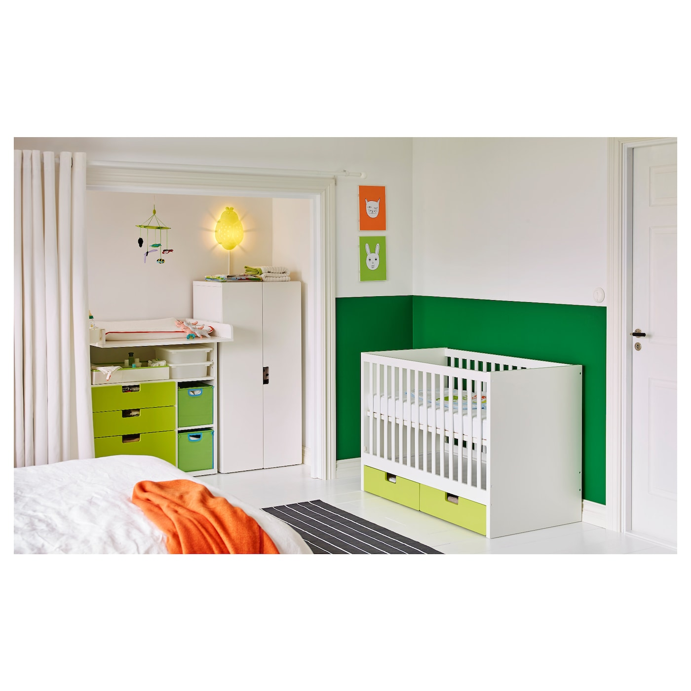 stuva lit enfant tiroirs vert 60x120 cm ikea. Black Bedroom Furniture Sets. Home Design Ideas