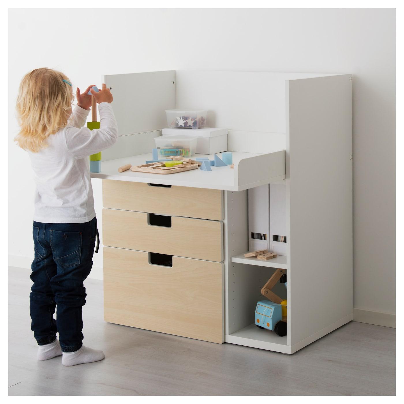 stuva table langer 3 tiroirs blanc motif bouleau 90x79x102 cm ikea. Black Bedroom Furniture Sets. Home Design Ideas