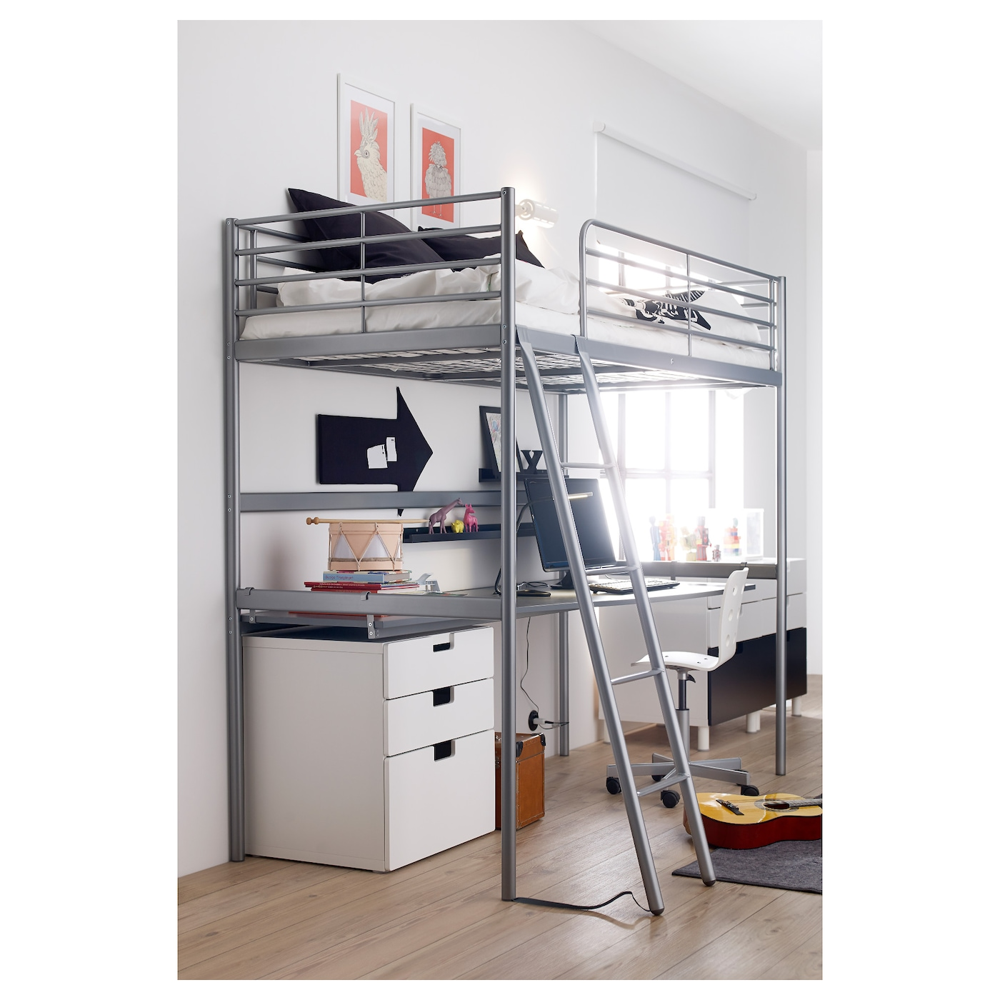 sv rta structure lit mezzanine couleur argent 90 x 200 cm ikea. Black Bedroom Furniture Sets. Home Design Ideas