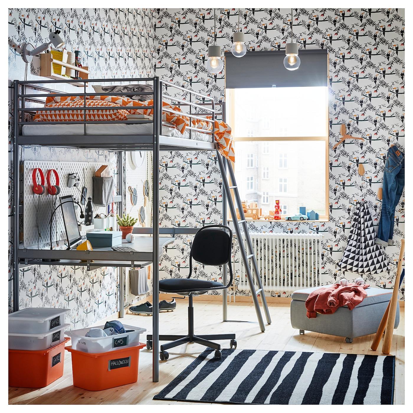 sv rta structure lit mezzanine couleur argent 90 x 200 cm ikea. Black Bedroom Furniture Sets. Home Design Ideas