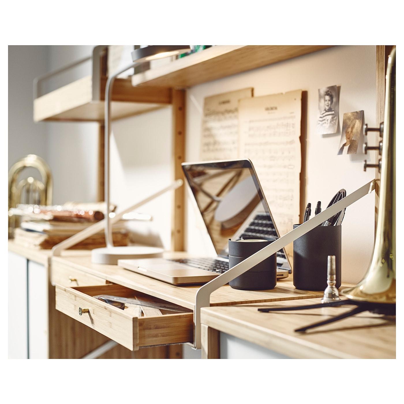 Svaln s bureau avec 2 tiroirs bambou 81x35 cm ikea for Bureau ikea avec tiroir classeur